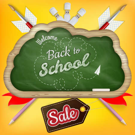 white back: Back to school Sale with text on chalkboard. EPS 10 vector file included
