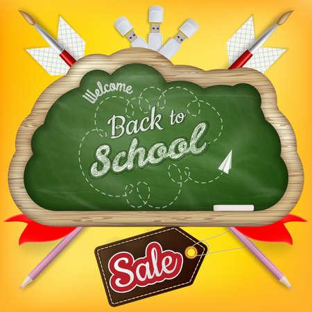 fond de texte: Retour à la vente de l'école avec le texte sur tableau noir. fichier 10 vecteur EPS inclus