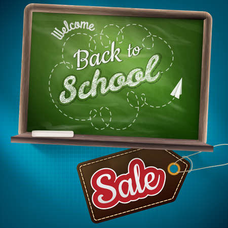 green chalkboard: Back to school sale on the chalkboard. EPS 10 vector file included Illustration