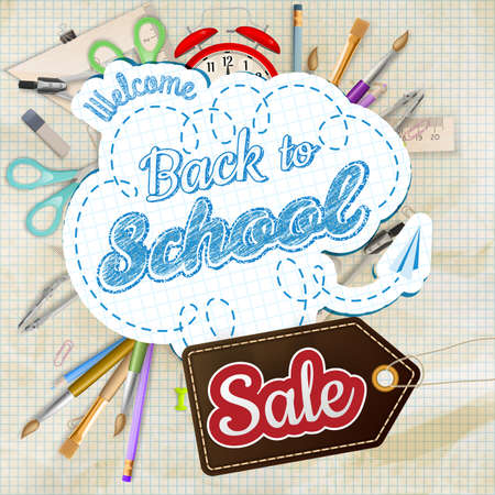 sales occupation: Back to School Sale Design. Vintage Style Back to School Designs on Light Background. EPS 10 vector file included