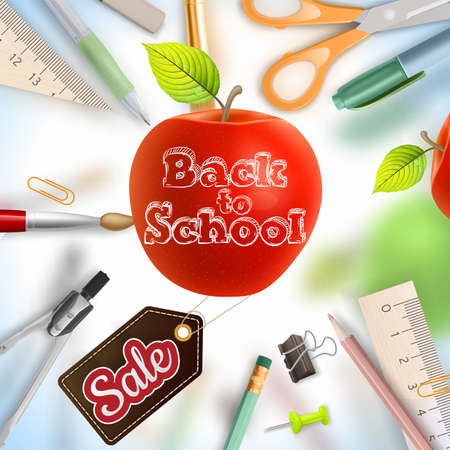 school supplies: Back to school Sale background with school supplies. EPS 10 vector file included