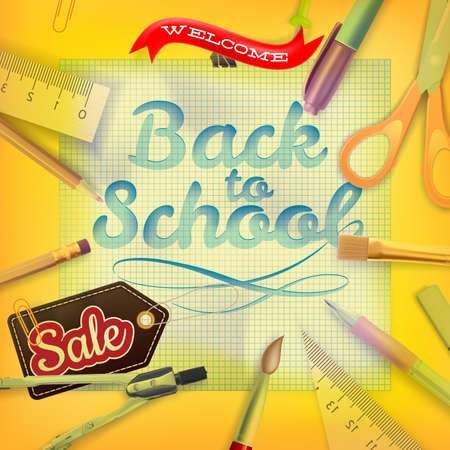 article marketing: Back to School marketing background. Greeting card, poster, flier, blog, article, social media.