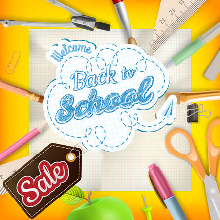 article marketing: Back to School design sale background. Illustration for greeting card, promotion, poster, flier, blog, article, social media, marketing.  vector file included