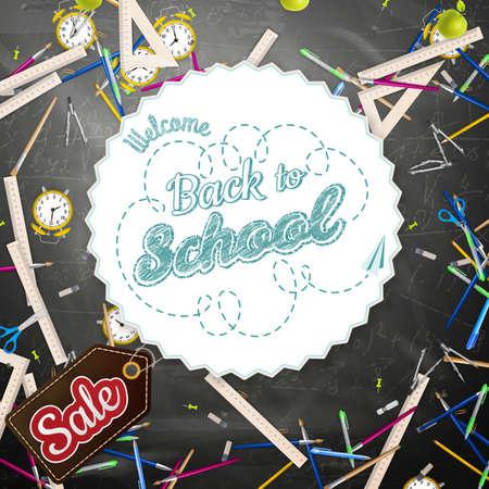 Hand drawn back to school Sale background. Education sketch. Illustration