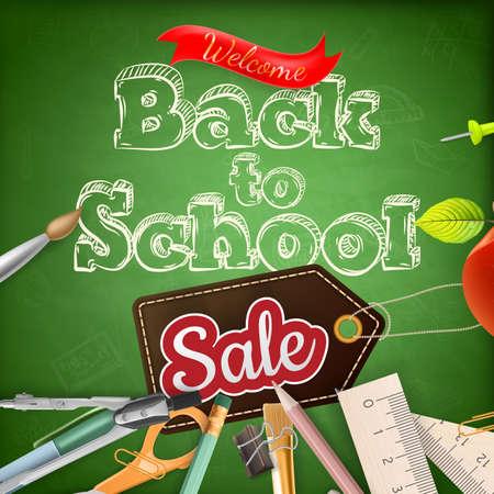 utiles escolares: Volver a la venta de la escuela en la pizarra. Archivo EPS 10 vector incluido
