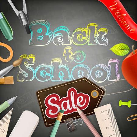 fournitures scolaires: Retour vers la vente de l'école sur le tableau. Illustration