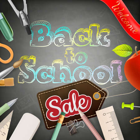 utiles escolares: Volver a la venta de la escuela en la pizarra. Vectores