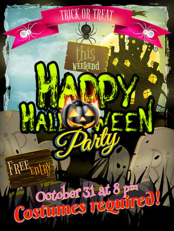 haunted: Grungy Halloween background with haunted house, bats and full moon. EPS 10 vector file included Illustration