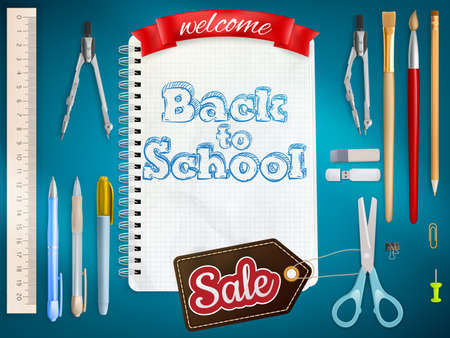 article: Back to School marketing background. For greeting card, ad, promotion, poster, flier, blog, article, social media. EPS 10 vector file included