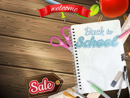flier: Back to School marketing background. For greeting card, ad, promotion, poster, flier, blog, article, social media. EPS 10 vector file included