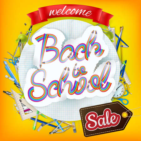 article marketing: Back to School marketing background. For greeting card, ad, promotion, poster, flier, blog, article, social media. EPS 10 vector file included