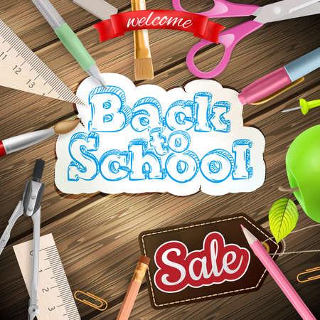 semester: Back to school Sale Label card. EPS 10 vector file included Illustration