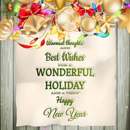 greeting christmas: Christmas greeting card light and snowflakes background. Merry Christmas holidays wish design and vintage ornament decoration. Happy new year message. EPS 10 vector file included Illustration