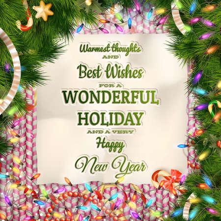 Kerst wenskaart licht en sneeuwvlokken achtergrond. Prettige kerstdagen wensen design en vintage ornament decoratie. Gelukkig Nieuwjaar bericht. EPS-10 vector bestand opgenomen