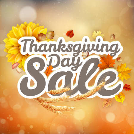postcard background: Thanksgiving Day sale headline template. EPS 10 vector file included