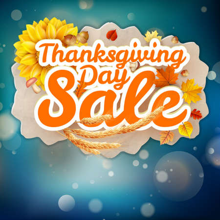 happy web: Thanksgiving Day sale headline template. EPS 10 vector file included