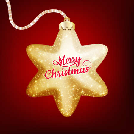 christmas star: Christmas decoration, holiday background with golden star - postcard with a twinkling gold star. EPS 10 vector file included