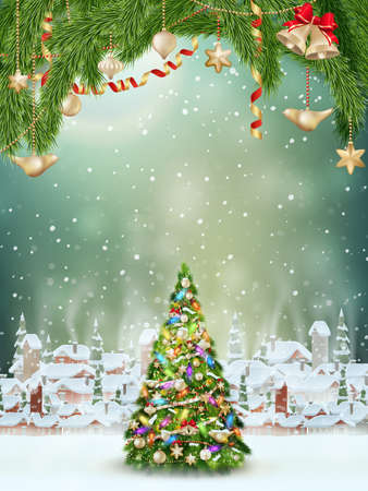 red label: Christmas greeting card light and snowflakes background. Merry Christmas holidays wish design and vintage ornament decoration. EPS 10 vector file included