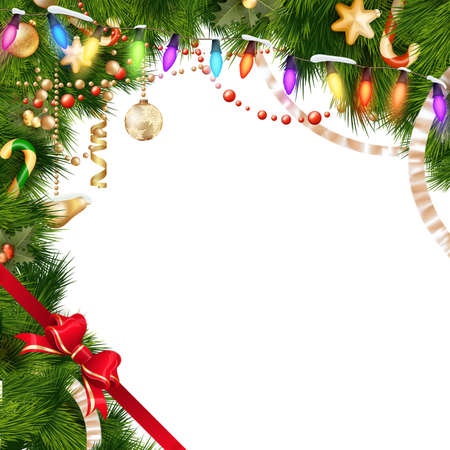 weihnachten: Christmas tree branches with golden baubles isolated on white. EPS 10 vector file included