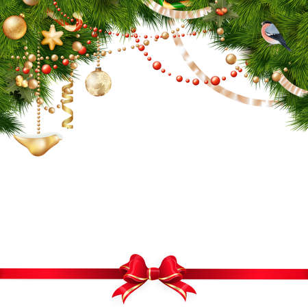 pine cones: Christmas tree branches with golden baubles isolated on white. EPS 10 vector file included