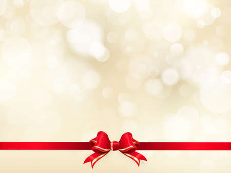 Red ribbon bow with bokeh Christmas decoration. EPS 10 vector file included
