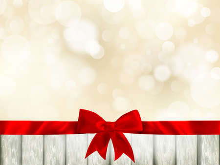 bow ribbon: Red ribbon bow with bokeh, Christmas decoration. EPS 10 vector file included Illustration