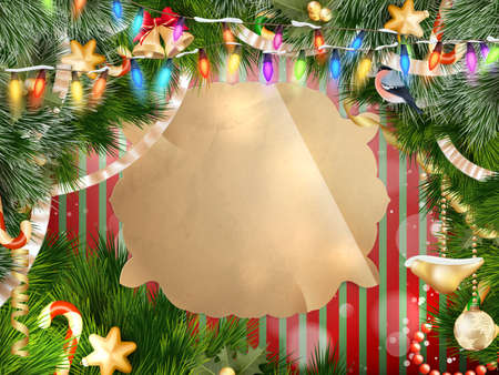 festive background: christmas background with baubles and christmas tree. EPS 10 vector file included