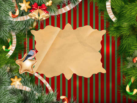 christmas decorations: christmas background with baubles and christmas tree. EPS 10 vector file included