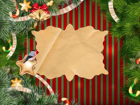 motivos navideños: Fondo de Navidad con adornos y árboles de Navidad. Archivo EPS 10 vector incluido Vectores