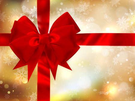 moños navideños: Feliz Navidad de fondo con el arco y los copos de nieve, el efecto bokeh de oro. archivo vectorial EPS 10 incluido