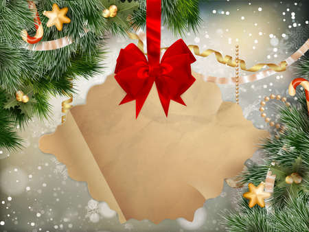 jingle bells: Merry Christmas greeting card with golden jingle bells and old paper. EPS 10 vector file included