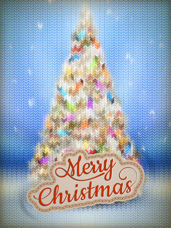 stockinet: Christmas label on a knitted background. EPS 10 vector file included Illustration