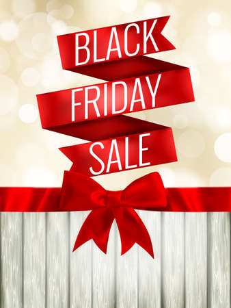 holiday profits: Black friday sale background with photorealistic bow and place for text. EPS 10 vector file included Illustration