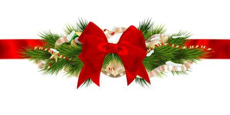 navidad elegante: Decoración de la cinta de Navidad. Archivo EPS 10 vector incluido