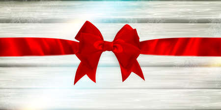 gift ribbon: Decorative red ribbon and bow on a background of white painted rustic boards with copyspace. EPS 10 vector file included