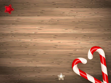 birds eye view: Candy canes on weathered wooden board. EPS 10 vector file included