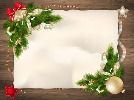 Christmas fir tree with paper and christmas decorations. EPS 10 vector file included Stock Illustratie