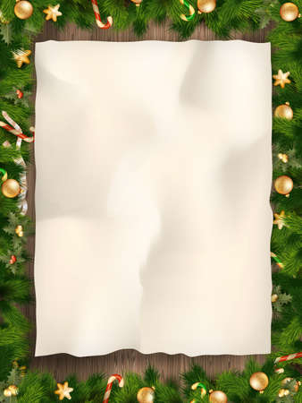 wrinkled paper: Christmas fir tree with paper and christmas decorations. EPS 10 vector file included Illustration