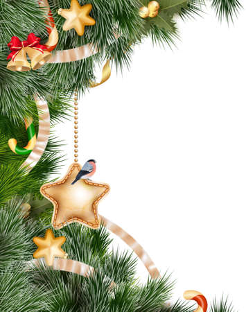 christmas stars: Christmas background with baubles and christmas tree. EPS 10 vector file included Illustration