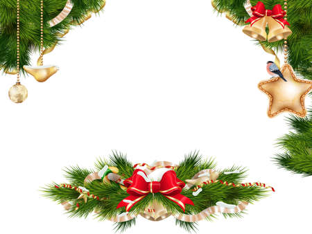 christmas garland: Christmas background with baubles and christmas tree. EPS 10 vector file included Illustration