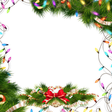 baubles: Christmas background with baubles and christmas tree. EPS 10 vector file included Illustration