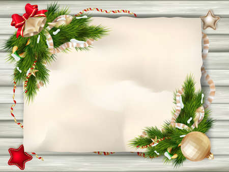 christmas poster: Christmas card with wrinkled paper background.