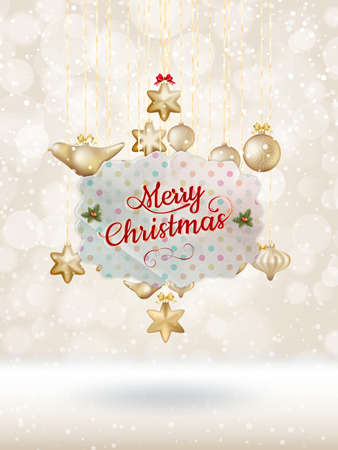 moños de navidad: Christmas balls with ribbon and bows. EPS 10 vector file included