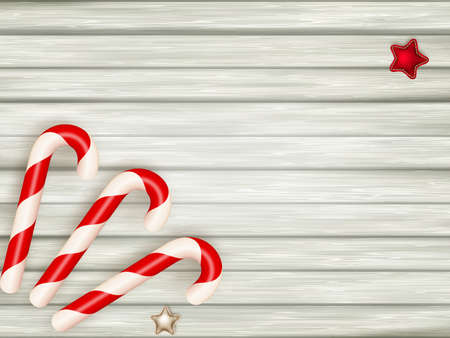 xmas background: Xmas candy cane on wooden background with copy-space. Illustration