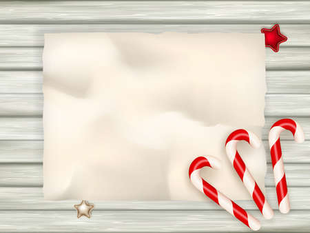 rustic wood: Candy Cane on Rustic Wood Background.