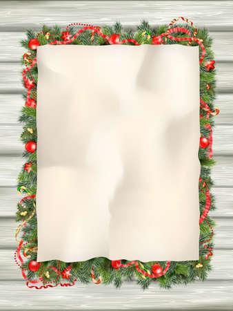 motivos navideños: Árbol de abeto de Navidad con papel y decoraciones de Navidad. Archivo EPS 10 vector incluido