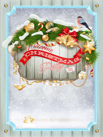 wooden window: Merry christmas wooden window card.