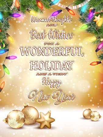 serpentines: Christmas type design, holidays decoration and candles background. EPS 10 vector file included
