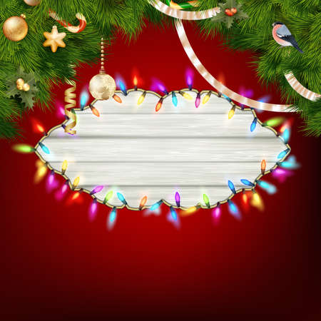 christmas lights: Glowing White Christmas Lights Wreath for Xmas Holiday Greeting Cards Design. EPS 10 vector file included Illustration