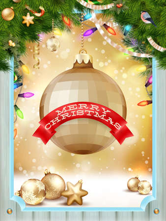 wooden window: Merry christmas wooden window card. Eps 10 vector file included Illustration